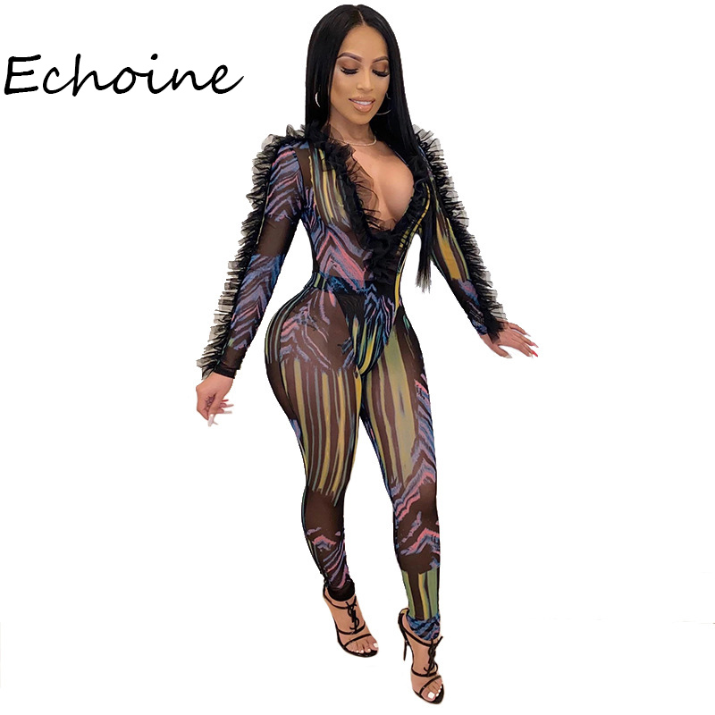 Sexy Sheer Mesh Print 2 Piece Set Women Butterfly Sleeve Bodysuit+ Long Pants Party Night Clubwear Outfit Colorful Tracksuit Wom