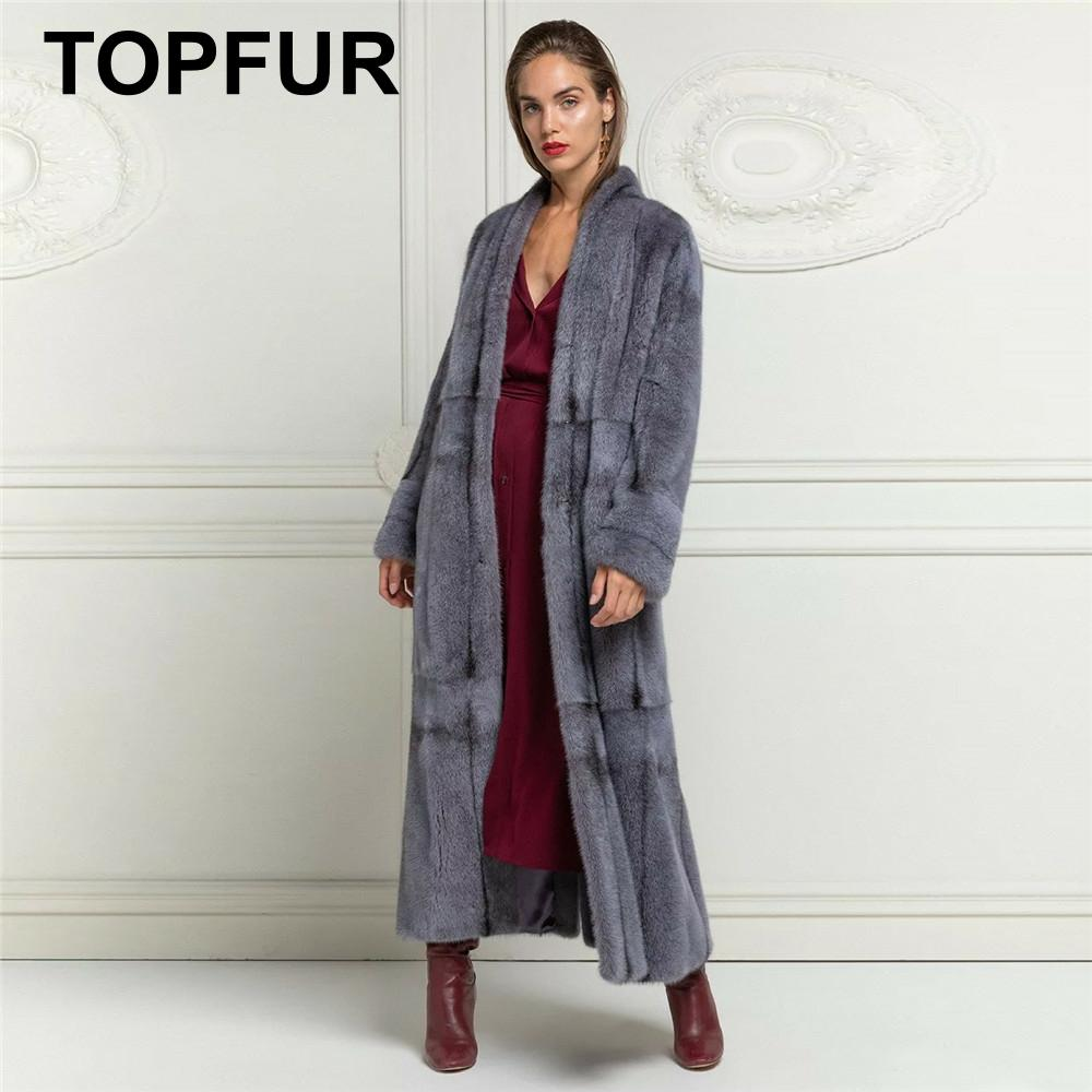 TOPFUR Real Fur Coat Women Winter Coat Women Blue Gray Natural MInk Fur Coat X-Long 2019 Leather Jacket Plus Size Outwear LN002