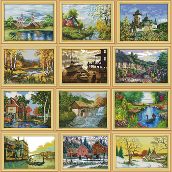 The Sunset Scenery Painting Counted Cross Stitch DMC 11CT 14CT Printed Canvas Set for Embroidery Kit DIY Needlework