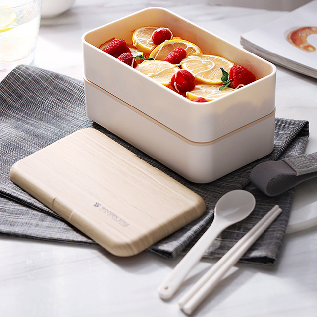 Japanese Double Layer Lunch Box Wooden Lid Microwave Bento Box for Kids Portable Picnic Food Storage Container Dinnerware Set 1