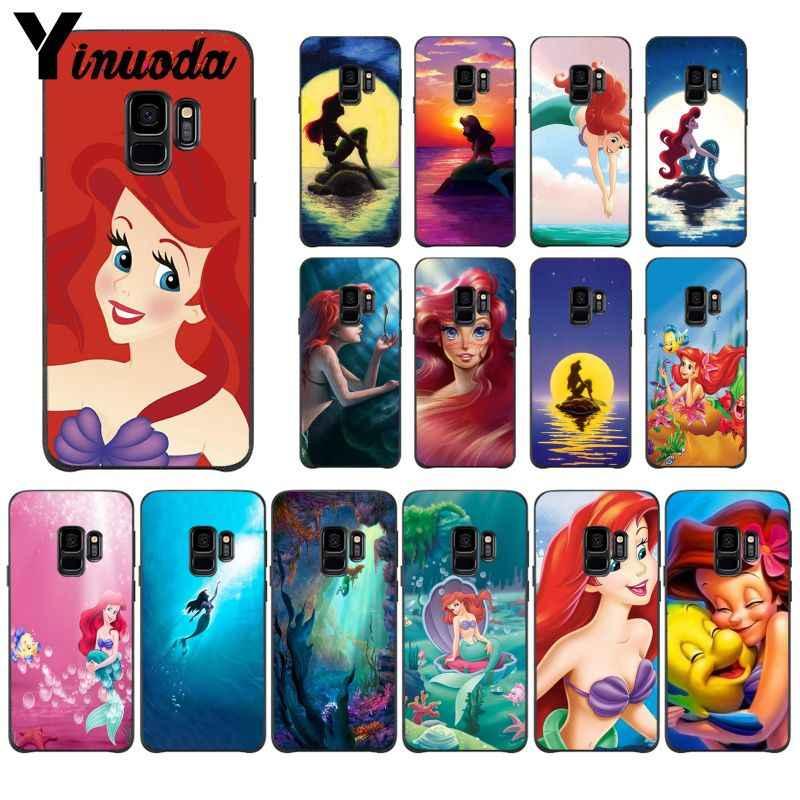 Yinuoda Ariel Little Mermaid Princess Gambar Hitam Lembut Shell Ponsel Case untuk Galaxy S5 S6 EDGE Plus S7 EDGE S8 PLUS S9 plus