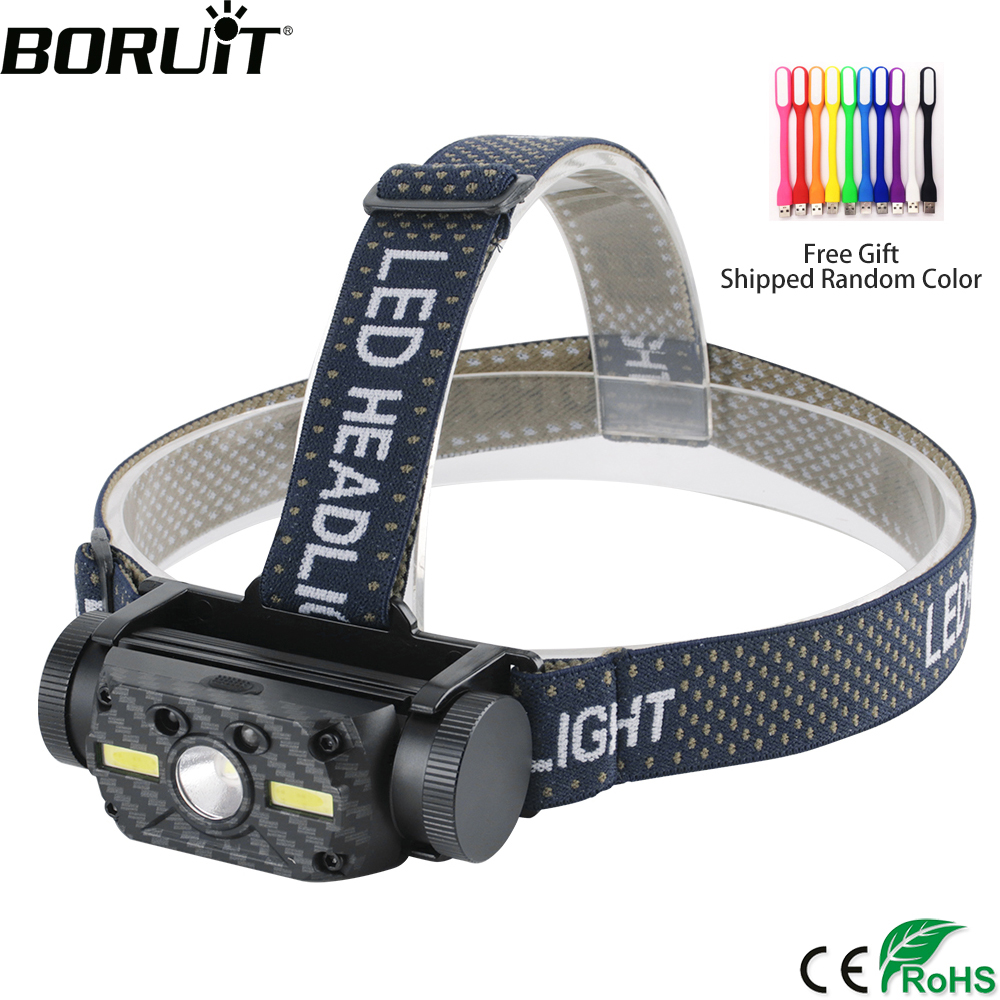 BORUiT B34 XM-L2 2 COB LED Headlamp IR Motion Sensor 4000LM Headlight Rechargeable 21700 Waterproof Head Torch Camping Hunting