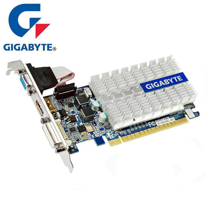 كرت جرافيكس جيجابايت G210 بمساحة 1 جيجابايت بطاقة فيديو 64Bit GDDR3 أصلي للألعاب nVIDIA Geforce وحدة معالجة الرسومات Dvi VGA GT630 GT710 GT730 مستعمل