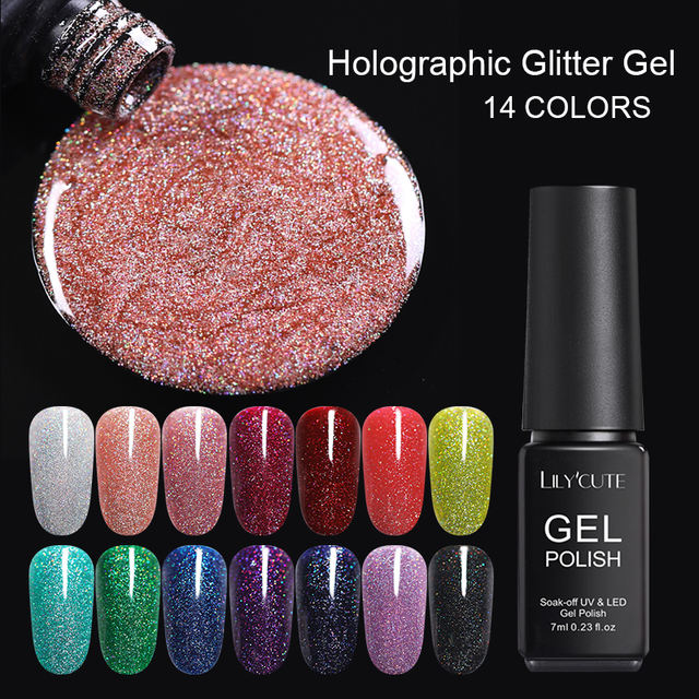LILYCUTE 7ml Holographic Neon Nail Gel