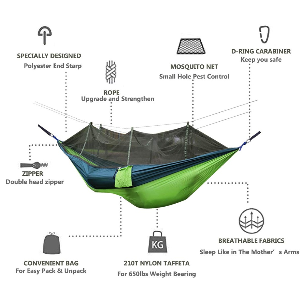 Parachute Hammock Mosquito-Net Sleeping-Bed Ultralight Outdoor Double-Person Camping