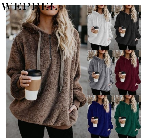 WEPBEL Women Solid Color Hoodies Full Sleeve Autumn Winter Casual Fashion Pocket Ladies Girl Tops Hoodie
