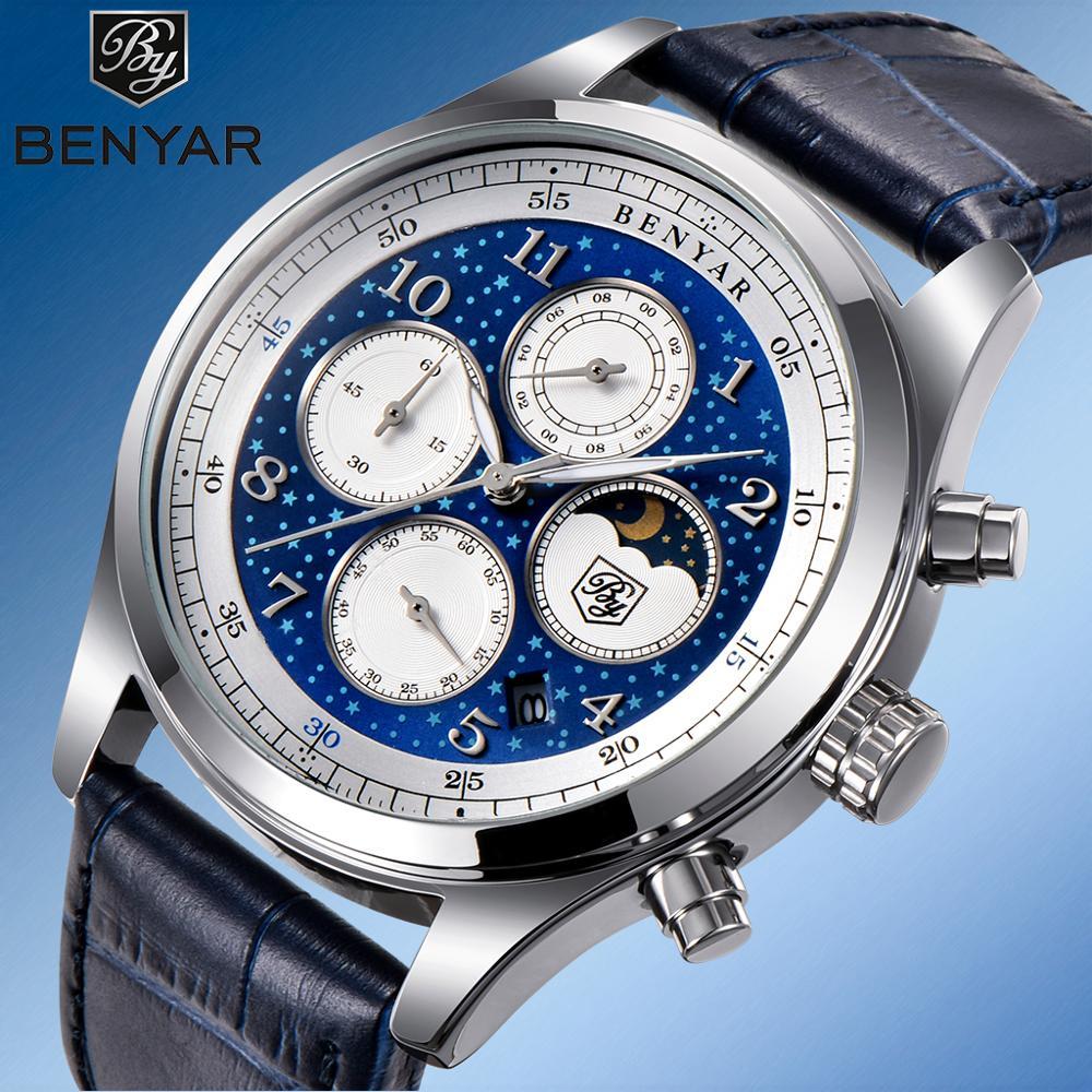 New Men's Watches BENYAR Sport Chronograph Watch Men Top Luxury Brand Wrist Watches Mens Fashion Leather Clock Relogio Masculino