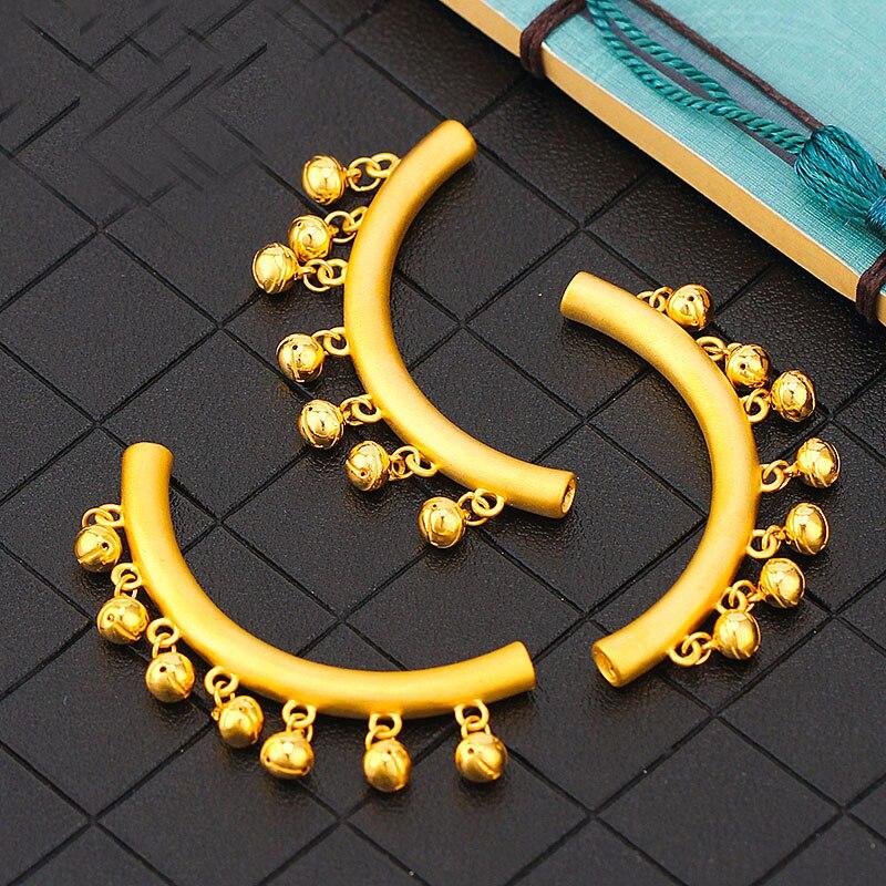 Offre spéciale 999 24K or jaune pendentif femmes 3D style ethnique petite cloche collier pendentif - 4