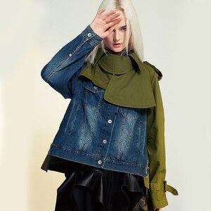 Image 4 - EAM veste en Denim à manches longues pour femmes, nouveau manteau à manches longues, coupe ample épissure, mode printemps automne 2020 1B093