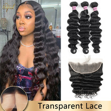 Transparent Lace Frontal With Hair Bundles Brazilian Loose Deep Wave Hair Bundle With Frontal Human Hair Bundles For Black Women
