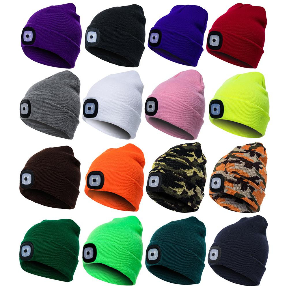 Unisex Outdoor Cycling Hiking LED Light Knitted Hat Winter Elastic Beanie Cap