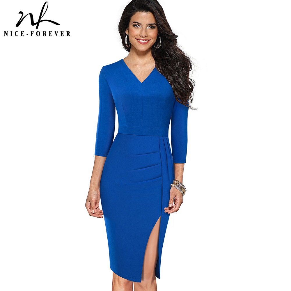 Nice-forever Elegant Pure Color Sexy Split Office Work Vestidos Business Party Bodycon Women Dress B567