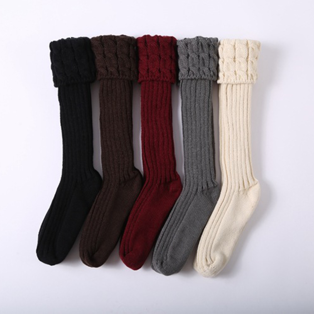DIHOPE 1Pair Women Girl High Socks Spring Autumn Winter Warm Knit Soft Thigh High Long Solid Color Loose Stockings Leg Warmers