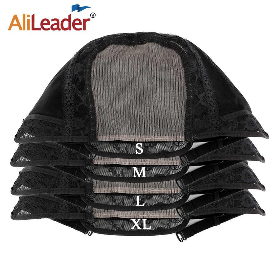 Alileader tamanho pequeno frente suíço laço peruca boné cor preta com adjsutable correias rede de cabelo humano para fazer tecer peruca boné