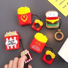 Hamburger Cartoon Case For airpods 1 2 Wireless Bluetooh ear phone charge French fries airpod Ring Soft Silicone air pods Cover(China)