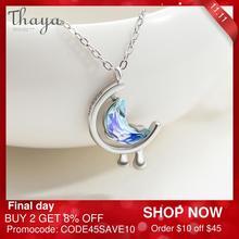 Thaya s925 srebrna woda w księżycu naszyjnik niebieski księżyc Bohemia Choker damski damska biżuteria na prezent