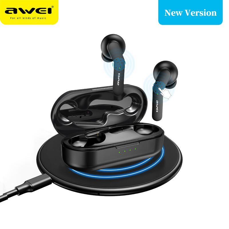 AWEI TWS Bluetooth V5.0 véritable écouteurs de charge sans fil avec double micro suppression de bruit HiFi 6D basse casque de jeu contrôle tactile