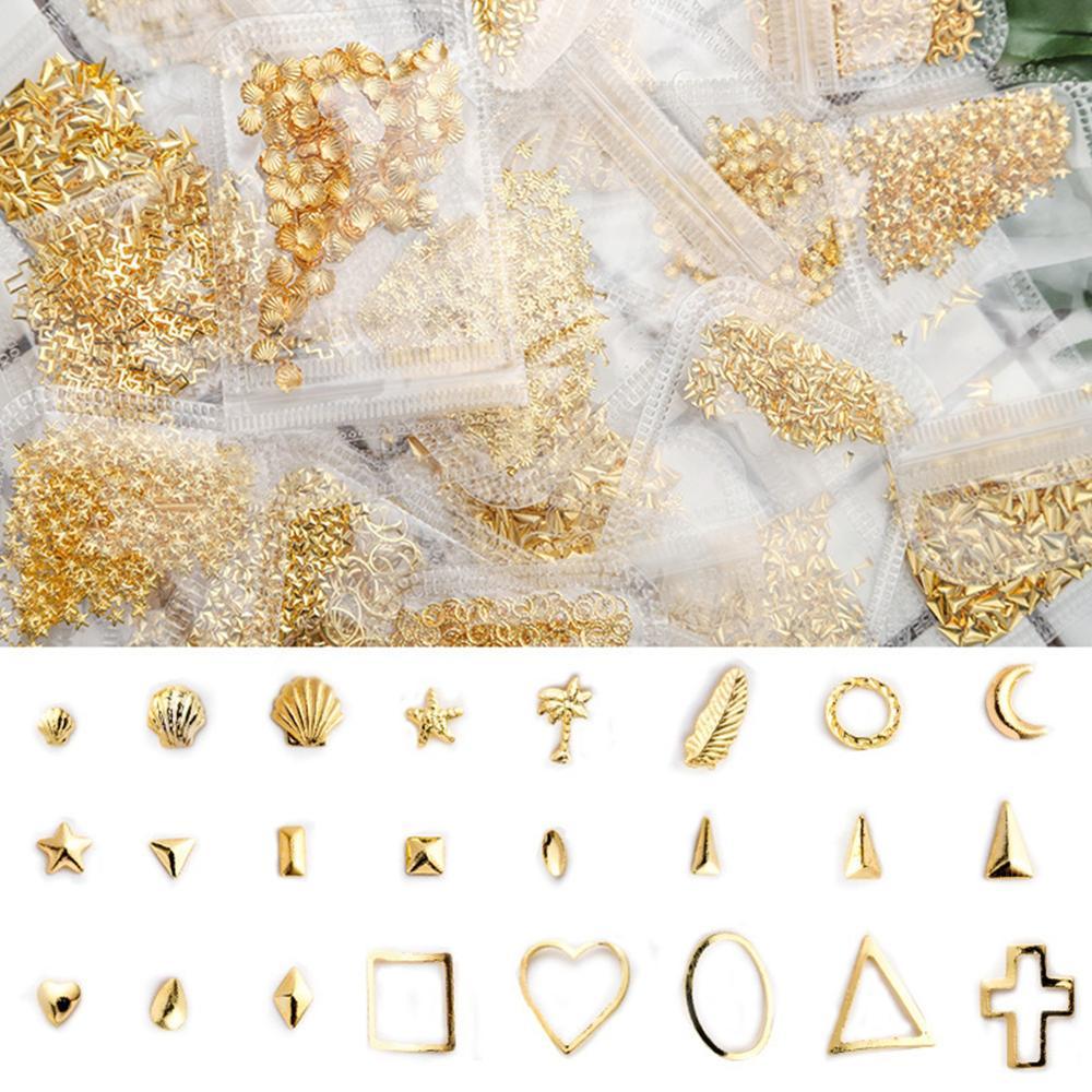 150-450 шт./упаковка, золотые гвоздики для ногтей