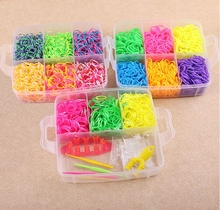 5400pcs Rubber Loom Bands Kit Kids DIY Bracelet Silicone Bands 3 layer PVC BOX Family Kit Set Beads Toys Rainbow loom bands цены