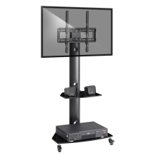 Portable Mobile TV Stand Rolling TV Cart Floor TV Stand with Swivel Mount Wheels Height Adjustable 27-55 inch TV Glass Shelf New