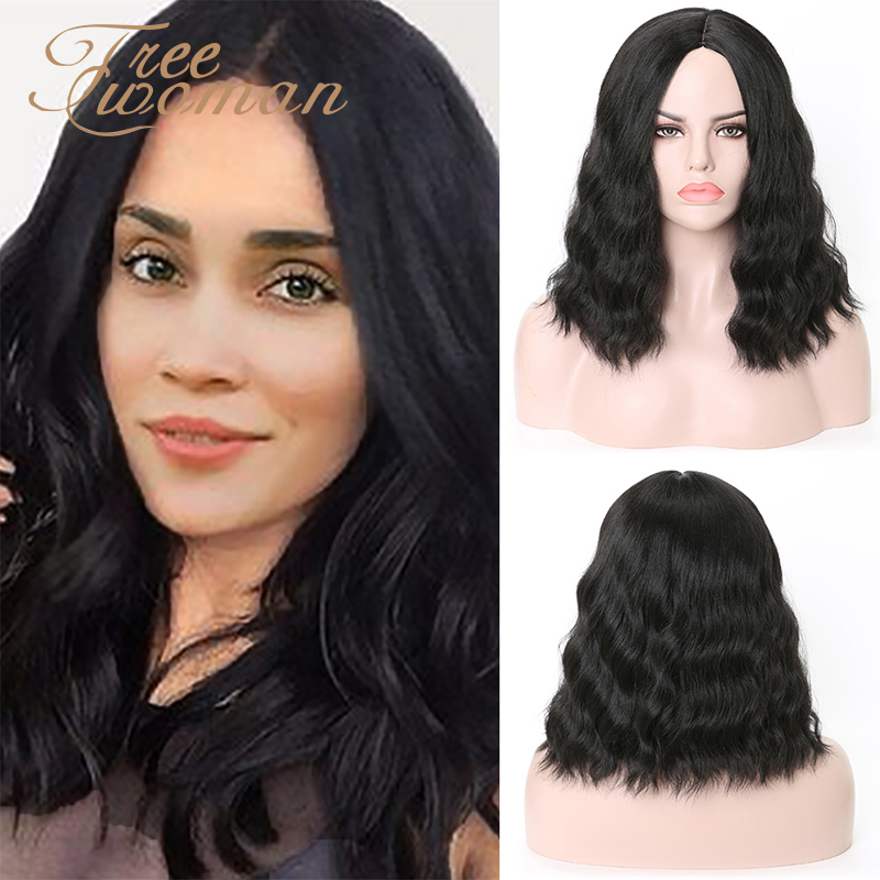 FREEWOMAN Black Synthetic Wigs For Black Women Water Wavy Short Bob Wig Cosplay Styled Heat Resistance Wigs Pink Orange Brown