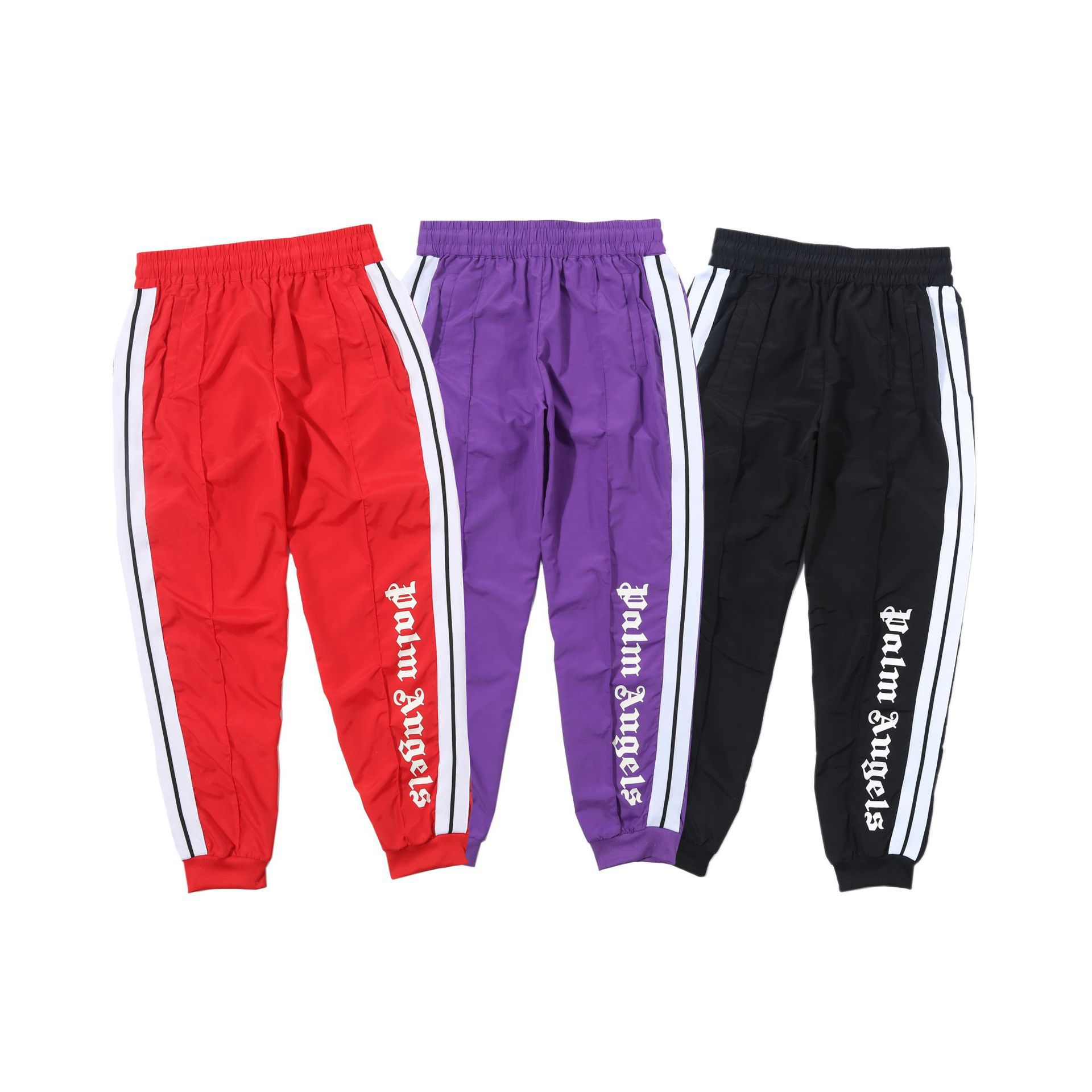 Spring And Autumn New Style Trousers Printed Letter Thread Side Stripes Windbreaker Fabric Trousers Palm Angel Men And Women Cel