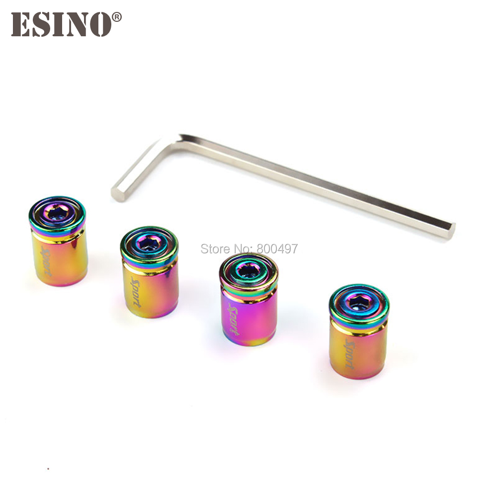 4 X Newest Colorful Car Styling Anti-theft Stainless Wheel Tire Valve Stem Caps Zinc Alloy Wheel Tire Stem Air Valve Caps