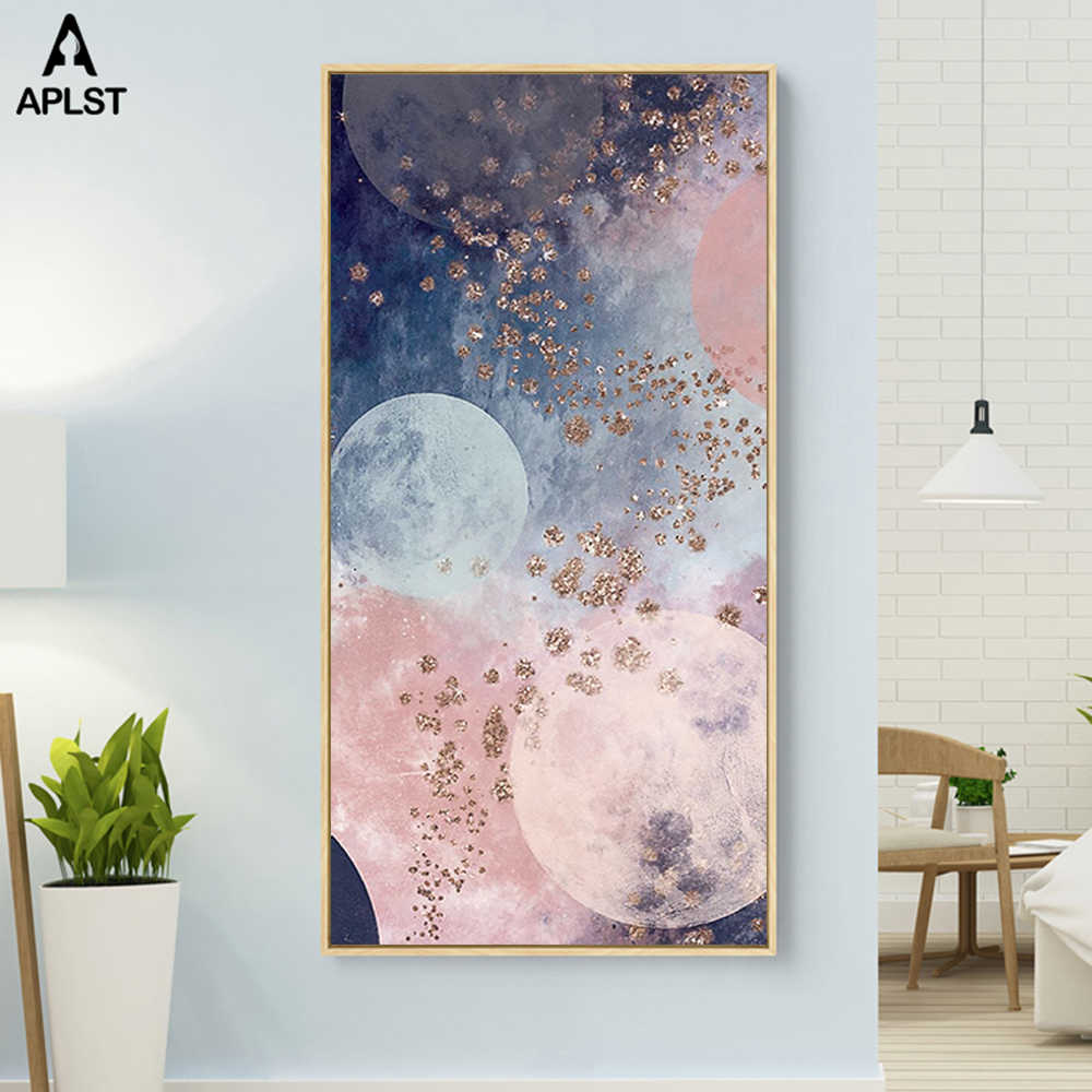 Milky Way Universe Galaxy Pink Planet Canvas Posters Prints Painting Landscape Wall Art Pictures for Living Room Decoration
