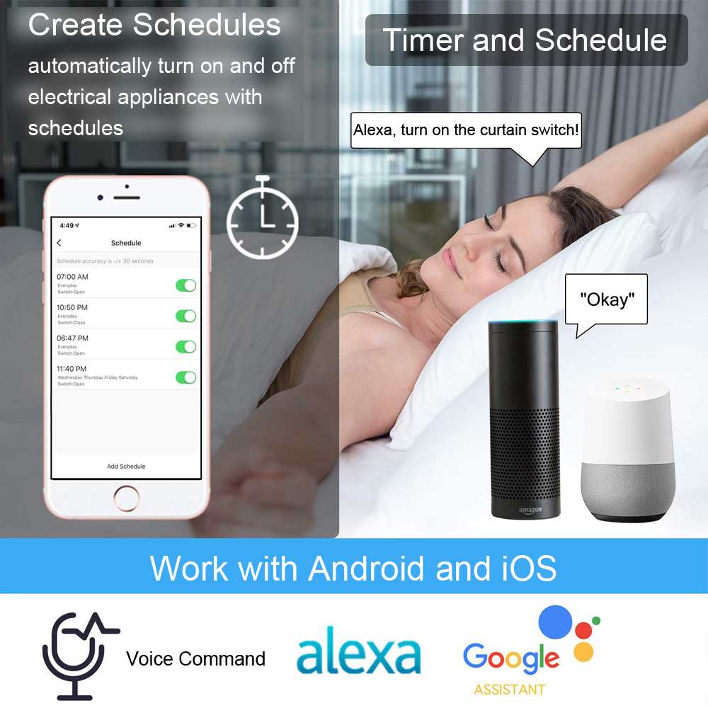 cheapest WiFi RF433 Smart Touch Curtain Roller Blinds Motor Switch Tuya Smart Life App Remote Control Works with Alexa Google Home