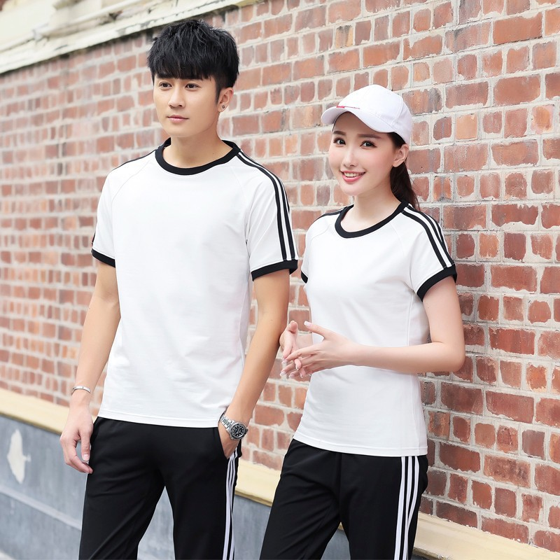 Students Sports Clothing New Style Summer Couples Sports Set Men's Summer Short Sleeve Trousers Pure Cotton Casual Crew Neck WOM