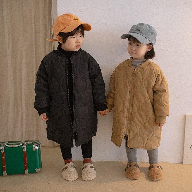 Детская зимняя стеганая куртка с флисовой подкладкой, теплые длинные ветрозащитные однотонные свободные куртки на молнии в Корейском стил...