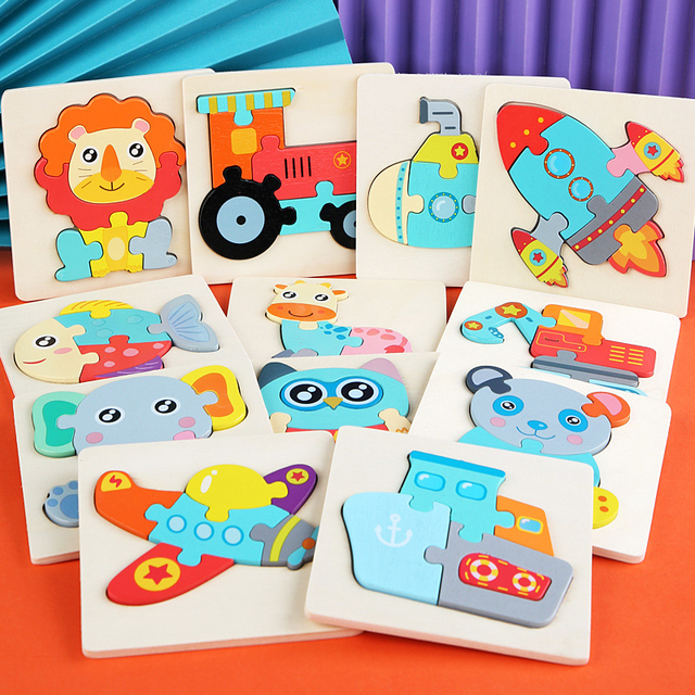 Kids Wooden Toys 3D Wood Puzzle Cartoon Animals Cognitive Jigsaw Puzzle Early Learning Educational Toys For Children Gift 3