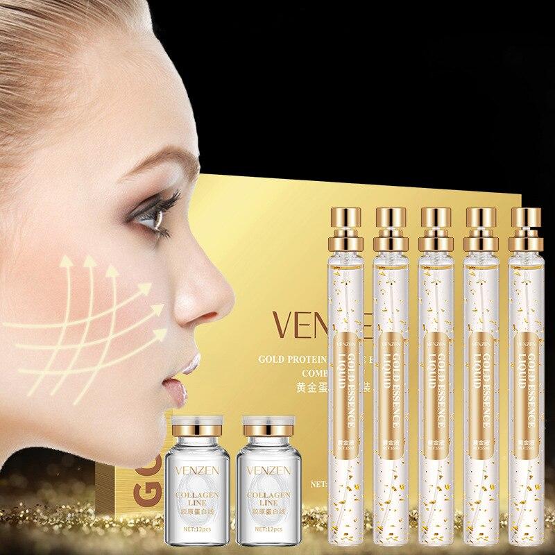 VENZEN Esencia de proteína péptido reafirmante para el cuidado de la piel, antiarrugas, líneas de proteína dorada, suero blanqueador de colágeno puro|Suero| - AliExpress