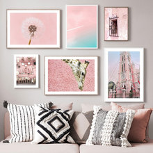 Pink Church Dandelion Wall Art Canvas Painting Poster Nordic Paintings Landscape Pictures For Bedroom