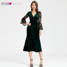 Элегантные велюровые вечерние платья Ever Pretty EP07301DG 3/4 кружевные короткие вечерние платья Русалка с расклешенными рукавами и v-образным вырезом Lange Jurken