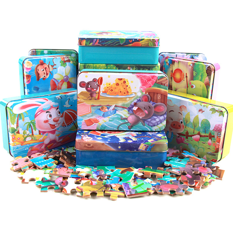 60 Pcs/box Children Cartoon Wooden Puzzle Chinese Zodiac Animal Puzzle Baby Early Educational Learning Toys With Iron Box
