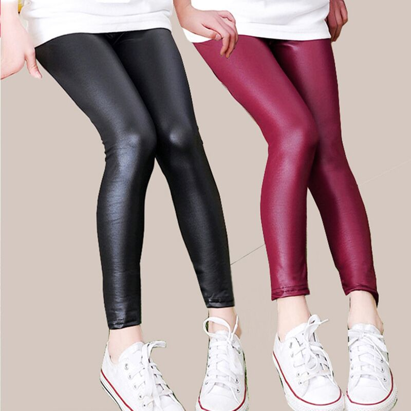 Winter Girls Leather Pants Thick Velvet PU Leather Children's Leggings Kids Pencil Pants Infant Warm Trousers Slim Pant Casual 5