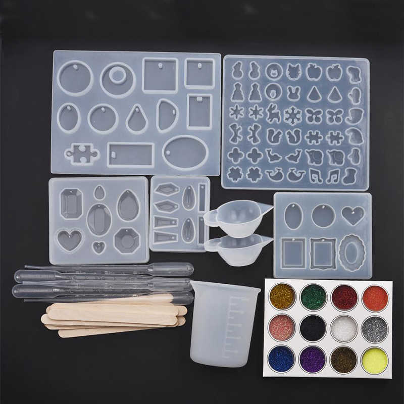 Silicone Resin Jewelry Molds Earrings Pendant Cabochon Geometric Round Heart Square Shaped Resin Jewelry Making Tools Set
