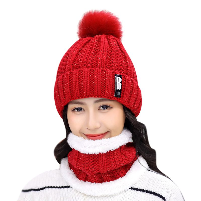 Autumn Winter Plus Velvet Warm Thickening Scarf Women Solid Color Soft Knitted Wool Cap Hats Ski Caps 8 Colors Beanies
