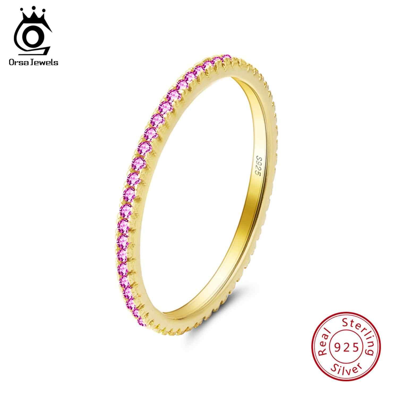 Orsa Perhiasan Mewah Wanita Pengantin Pernikahan Cincin Fashion 925 Perak Perhiasan Janji CZ Batu Cincin Wanita SR63-R