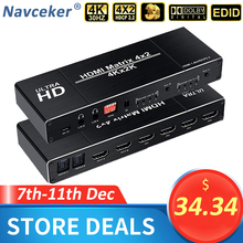 2020 Best 4K 4x2 HDMI Matrix Switch Splitter Switcher EDID Setting HDMI Switch 4x2 with Dual SPDIF & Optical Toslink HDMI Matrix