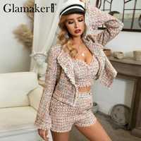 Glamaker Lurex tweed court blazer manteau femmes automne trois pièces bureau blazer élégant hiver flare manches sexy veste vêtements d'extérieur