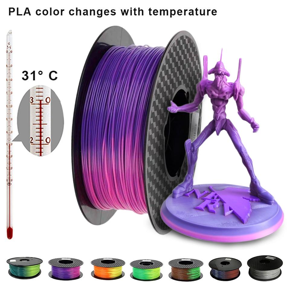 Изменение цвета с температурой нити для 3D-принтера PLA сублимационный пластик хамелеон Материал для 3d-печати 1,75 мм 1 кг/500 г/250 г