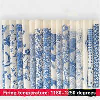 5 pçs cerâmica cerâmica argila transferência de papel esmalte underglaze flor jingdezhen azul e branco porcelana liso applique