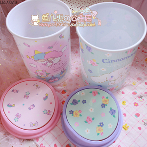 Image 2 - My Melody Cinnamoroll Pudding Dog Little Twin Star Action Figure Cartoon Household Trash Can With Lid Kitchen Bathroom Waste Bin