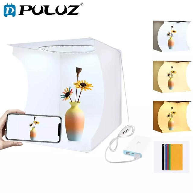 PULUZ 30*30cm Lightbox מיני מתקפל צילום סטודיו תיבת צילום LED 30cm Lightbox סטודיו ירי אוהל ערכת & 6 צבע תפאורות