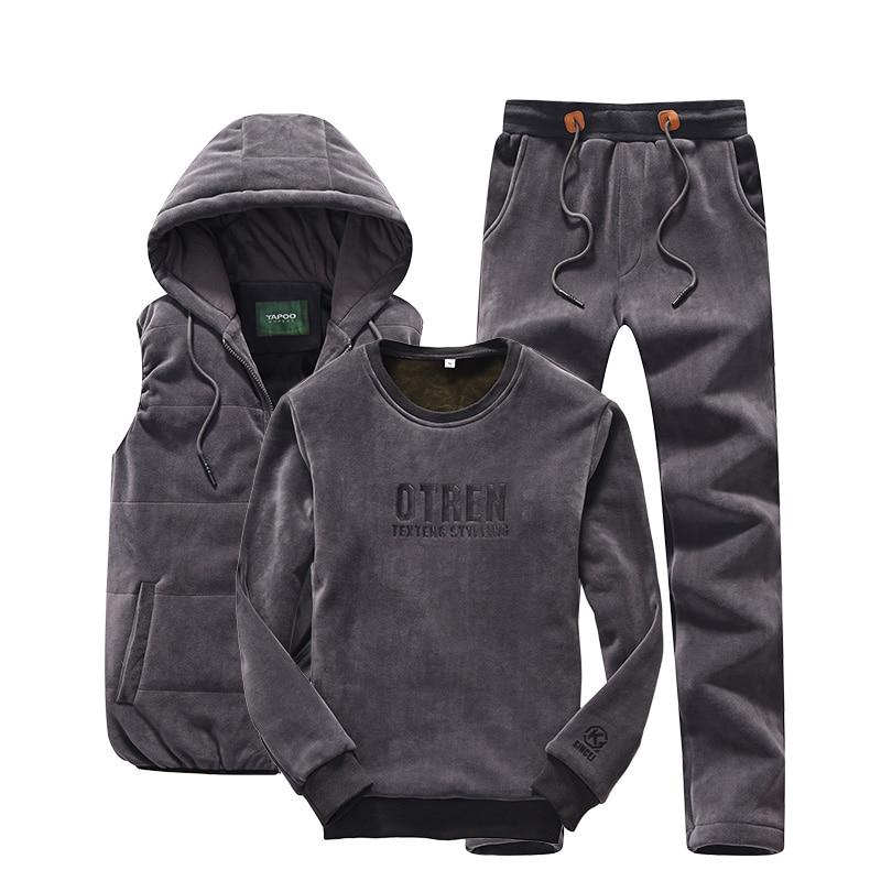 Hoodie Men Set Sports Suit M 4XL Winter Gold Velvet 3 Pieces Sets Tracksuit Men's Plus Size XXXXL Vest + Pants + Sweatshirt