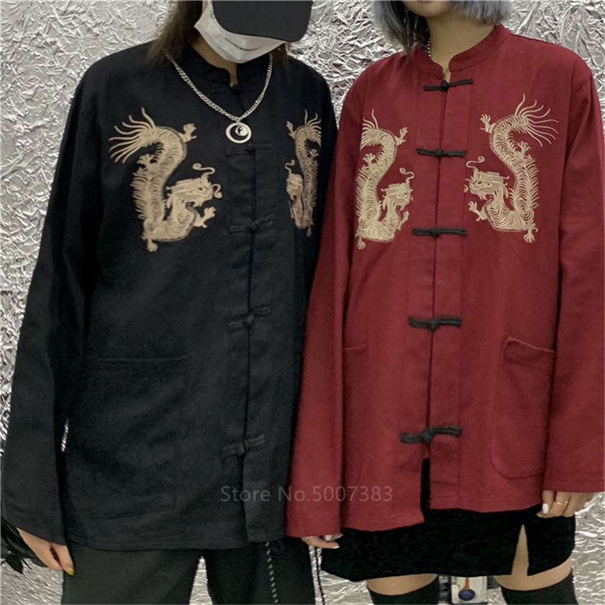 New Year Chinese Style Dragon Hanfu Vintage Clothing Embroidery Dragon Tang Suit Traditional China Fashion Tops Coat