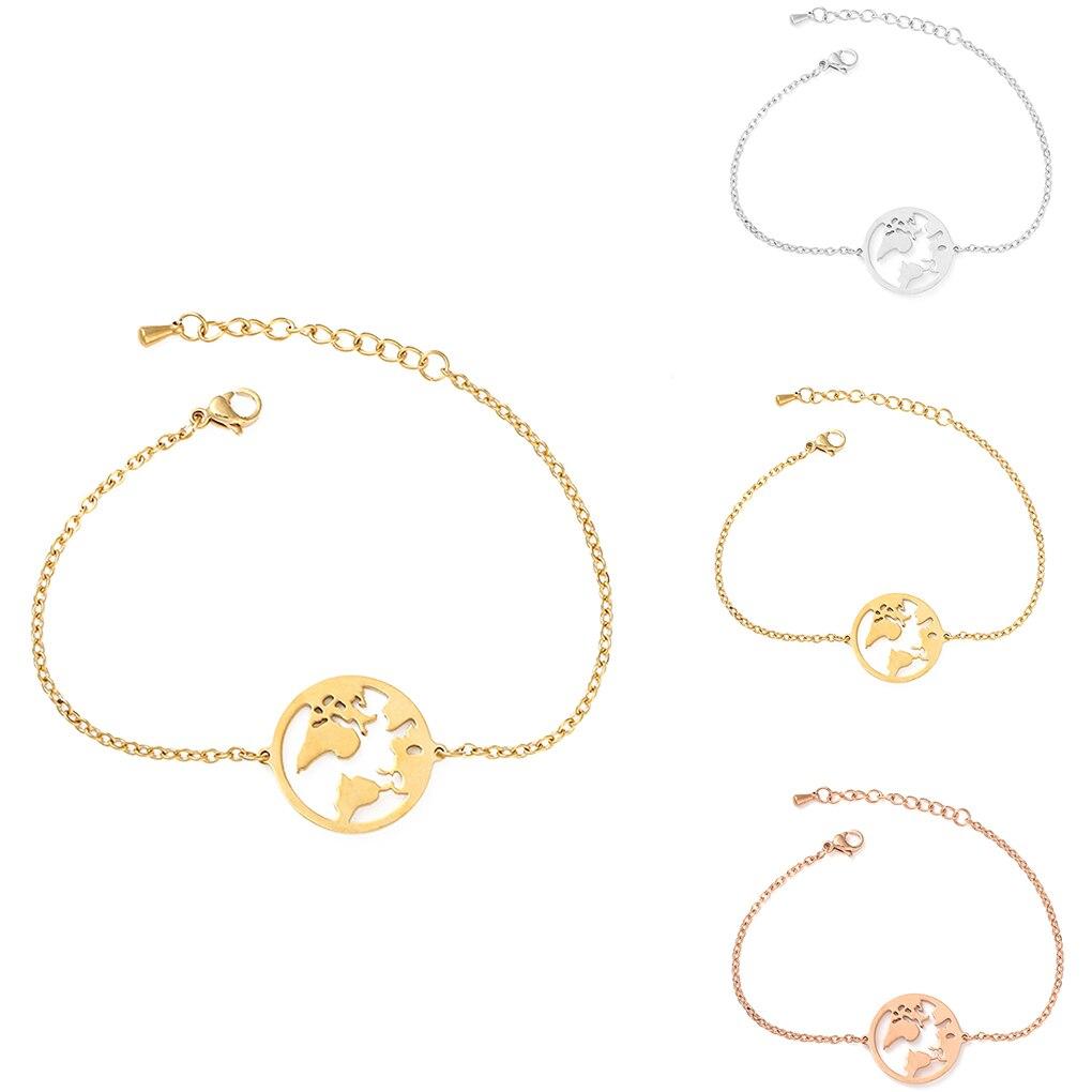 World Map Bracelets For Women Travel Jewellery Rose Gold Chain Friendship Sister Gifts Globe Bracelet Femme