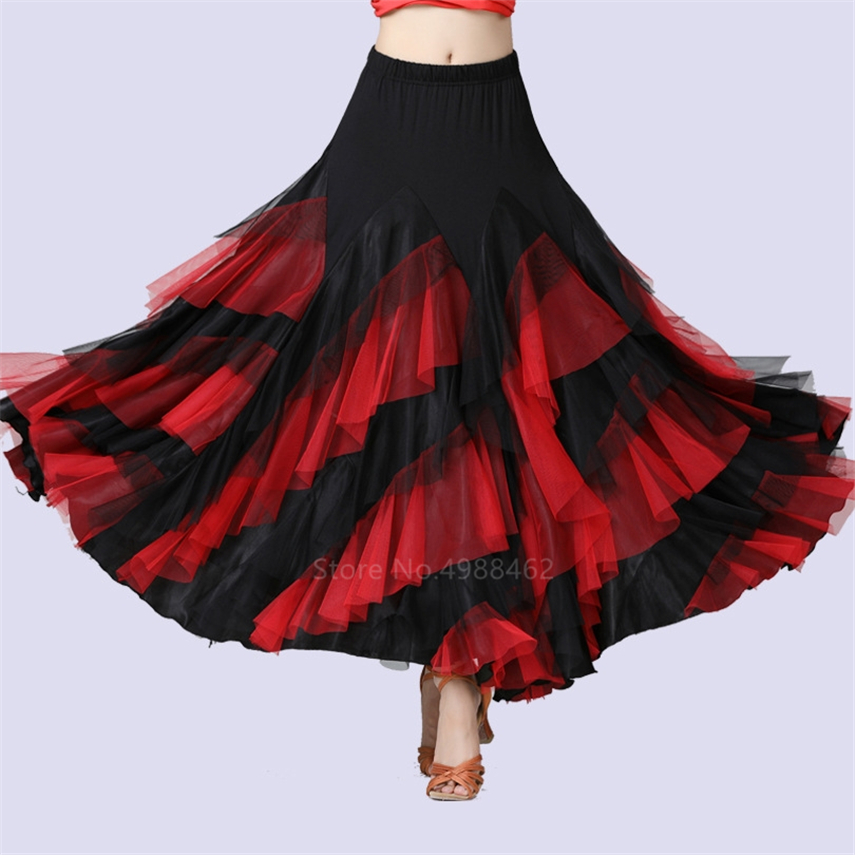 New Women Dancing Costume Flamenco Waltz Ballroom Dance Skirt Classical Competition Practice Layered Big Swing Spanish Skirts